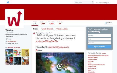 Screenshot of Twitter Page twitter.com - Warning (@WarningUp) | Twitter - captured Oct. 27, 2014