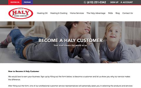 Screenshot of Signup Page halyoil.com - How to Become a Haly Oil Customer - Contact Our Team Today - captured July 14, 2017