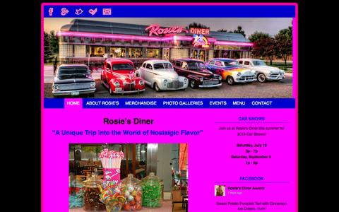 Screenshot of Home Page rosiesdiner.com - Rosie's Diner | Nostalgic Flavor | Aurora, Colorado - captured Oct. 8, 2015