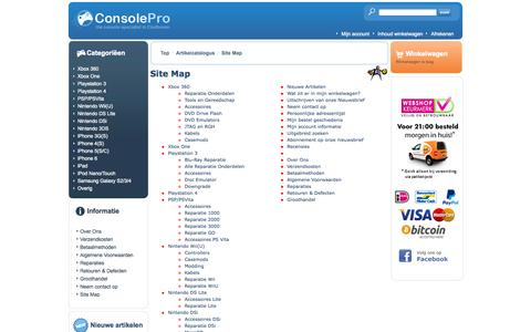 Screenshot of Site Map Page consolepro.nl - ConsolePro - captured Oct. 28, 2014