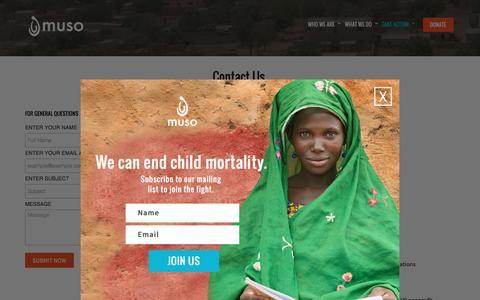 Screenshot of Contact Page musohealth.org - Contact | Muso - captured July 17, 2016