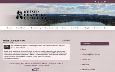 Screenshot of Press Page keizerchamber.com - Keizer Chamber News - Keizer News - Keizer Chamber - captured Nov. 16, 2019