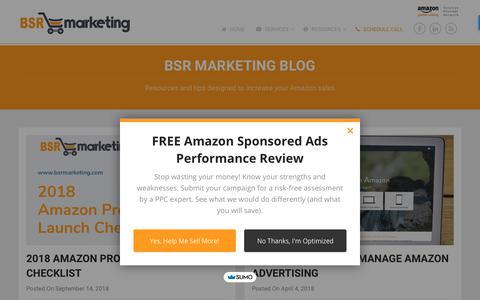 Screenshot of Blog bsrmarketing.com - Selling on Amazon Tips (And Secrets) | BSR Marketing - captured Nov. 2, 2018