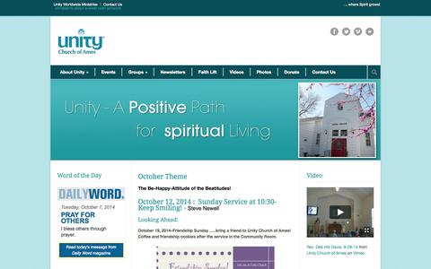 Screenshot of Home Page unityofames.com - Unity Church of Ames - captured Oct. 7, 2014