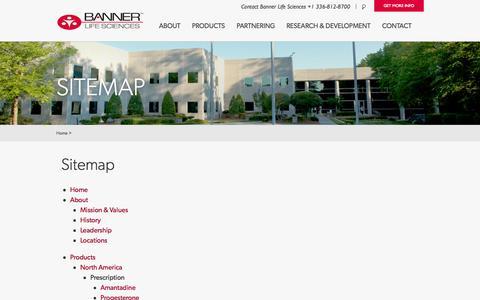 Screenshot of Site Map Page bannerls.com - Banner Life Sciences > BLS Sitemap - captured Oct. 5, 2014