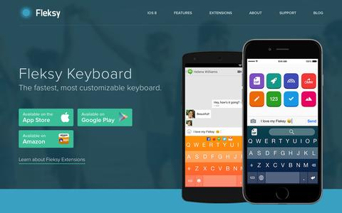 Screenshot of Home Page fleksy.com - Fleksy Keyboard - GIFs, Custom Extensions, and Themes - captured Nov. 5, 2015