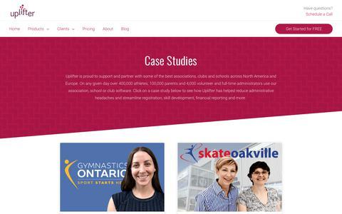 Screenshot of Case Studies Page uplifterinc.com - Case Studies for Association & Club Management Software | Uplifter - captured Nov. 7, 2018