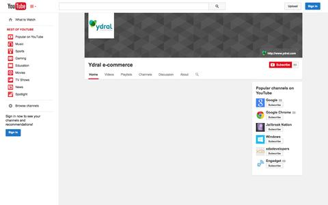 Screenshot of YouTube Page youtube.com - Ydral e-commerce  - YouTube - captured Nov. 3, 2014