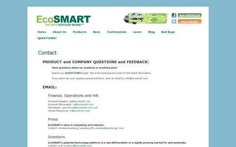 Screenshot of Contact Page ecosmart.com - Contact «  Safe Pesticides for Home | EcoSMART Organic Insecticide Bug Spray - captured July 19, 2014