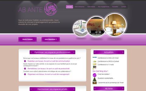 Screenshot of Home Page ab-ante.com - Ab Ante Feng Shui - Optimiser vos espaces professionnels ou harmoniser vos espaces privés. - captured Oct. 4, 2014
