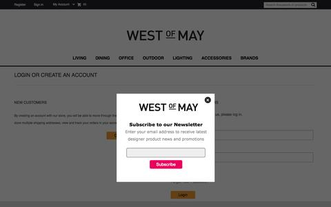Screenshot of Login Page westofmay.com - West of May -  Customer Login - captured Nov. 5, 2014
