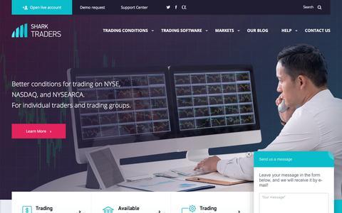 Screenshot of Home Page sharktraders.com - Shark Traders trading at NYSE, NASDAQ and AMEX - captured June 16, 2017