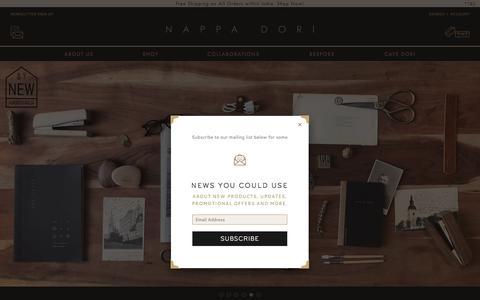 Screenshot of Home Page nappadori.com - Nappa Dori | Handmade Leather Bags, Leather Crossbody Bags - captured Sept. 22, 2018