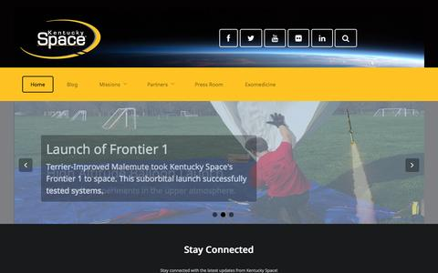 Screenshot of Home Page kentuckyspace.com - Welcome to Kentucky Space - captured Sept. 30, 2014