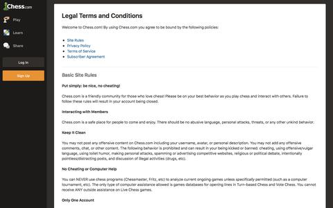 Legal Terms and Conditions  - Chess.com