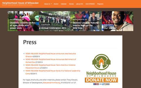 Screenshot of Press Page nh-milw.org - Press | Neighborhood House of Milwaukee - captured Oct. 26, 2014