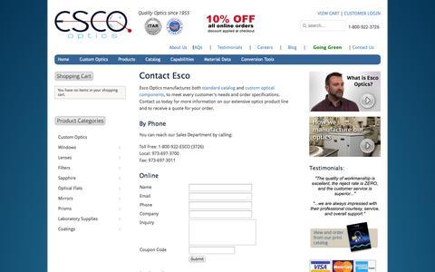 Screenshot of Contact Page Support Page escooptics.com - Contact Us | Esco - captured Oct. 23, 2014