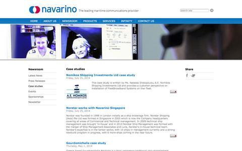 Screenshot of Case Studies Page navarino.co.uk - Newsroom :: Case studies :: Navarino Telecom | Maritime communications | Satellite Communications - captured Oct. 26, 2014
