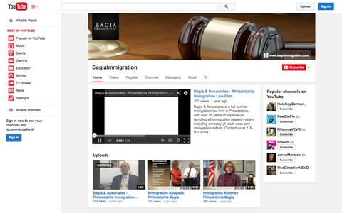 Screenshot of YouTube Page youtube.com - BagiaImmigration  - YouTube - captured Oct. 23, 2014