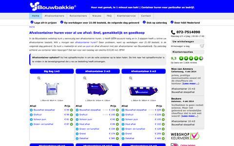 Screenshot of Home Page bouwbakkie.nl - Goedkoopste Afvalcontainer huren - Direct container huren - captured Oct. 5, 2014