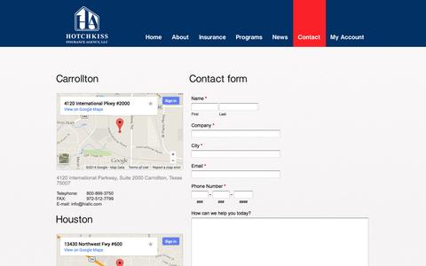 Screenshot of Contact Page Locations Page hiallc.com - Contact Us - captured Oct. 23, 2014