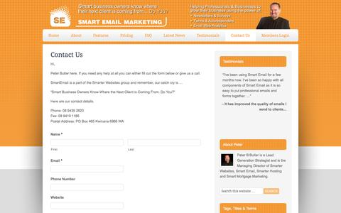 Screenshot of Contact Page smartemail.com.au - Contact Email Marketing Software, Email Newsletters and Autoresponders by Smart Email - captured May 11, 2017