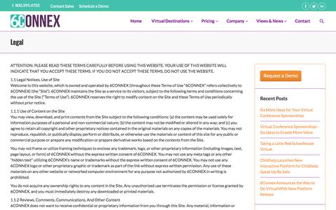 Screenshot of Terms Page 6connex.com - Virtual Destinations   Legal   Virtual Destination Software   6Connex - captured Sept. 19, 2014