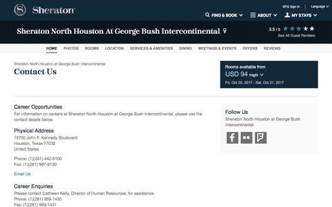 Screenshot of Contact Page starwoodhotels.com - Contact Us | Sheraton North Houston at George Bush Intercontinental - captured Oct. 20, 2017
