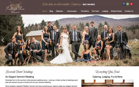 Screenshot of Home Page riversidefarmweddings.com - Riverside Farm - Vermont Weddings - captured July 19, 2019