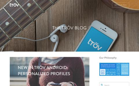 Screenshot of Blog trov.com - The Trōv Blog | Trōv | The Cloud For Your Things - captured Dec. 18, 2015