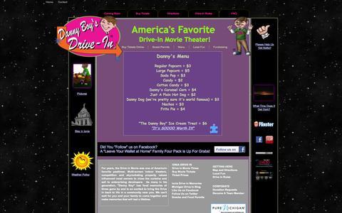 Screenshot of Menu Page dannyboysdrivein.com - Danny Boy's Drive In Menu - captured Oct. 5, 2014