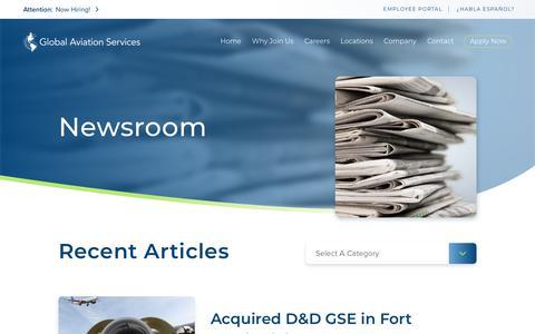 Screenshot of Press Page globalaviationservicesllc.com - Newsroom | Global Aviation Services - captured Nov. 5, 2018