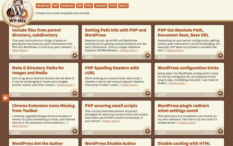 Screenshot of Home Page wp-mix.com - WP-Mix | A fresh mix of code snippets and tutorials - captured Aug. 26, 2016