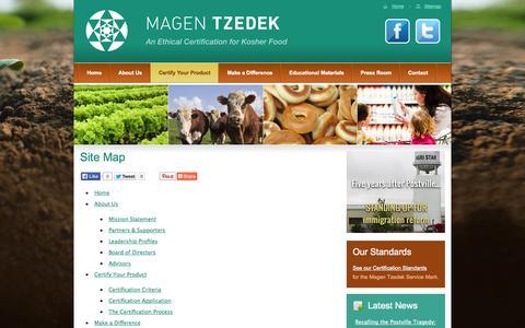 Screenshot of Site Map Page magentzedek.org - Site Map | Magen Tzedek - An Ethical Certification for Kosher Food - captured Oct. 2, 2014