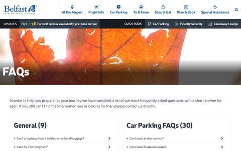 Screenshot of FAQ Page belfastairport.com - FAQs | Belfast International Airport - captured Oct. 5, 2018
