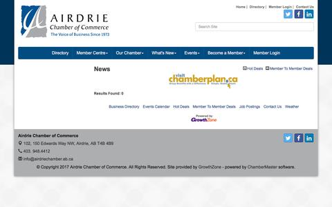 Screenshot of Press Page airdriechamber.ab.ca - News - Airdrie Chamber of Commerce, AB - captured Oct. 7, 2017