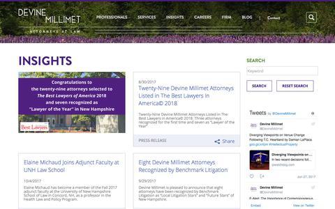 Screenshot of Press Page devinemillimet.com - Legal Articles & Insights | Devine Millimet - captured Oct. 12, 2017