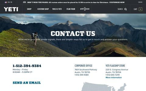 Screenshot of Contact Page yeti.com - Contact Us | YETI - captured Nov. 13, 2018