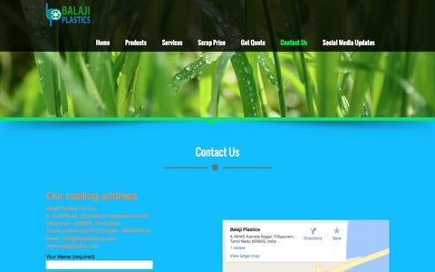 Screenshot of Contact Page balajiplastics.com - Contact Us - Balaji Plastics - captured July 28, 2016