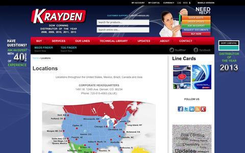 Screenshot of Locations Page krayden.com - Locations | Krayden, Inc. - captured Oct. 6, 2014