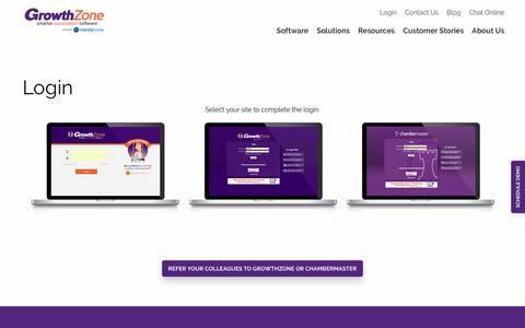 Screenshot of Login Page growthzone.com - GrowthZone/ChamberMaster Membership Software Login - GrowthZone - captured July 31, 2017