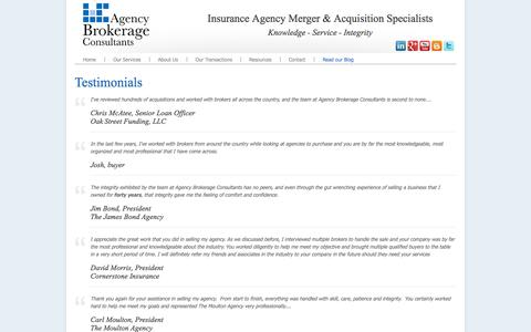 Screenshot of Testimonials Page agencybrokerageconsultants.com - Agency Brokerage Consultants - Testimonials - captured Sept. 30, 2014