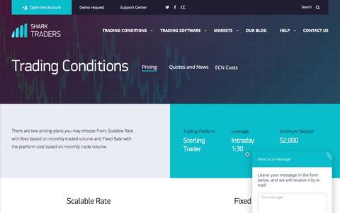 Screenshot of Pricing Page sharktraders.com - Trading conditions NYSE, NASDAQ, AMEX - captured June 16, 2017