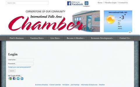 Screenshot of Login Page ifallschamber.com - Login - International Falls Area Chamber of Commerce, MN - captured Feb. 3, 2018