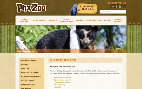 Screenshot of Support Page phoenixzoo.org - Support the Zoo - Phoenix Zoo - captured Sept. 18, 2014