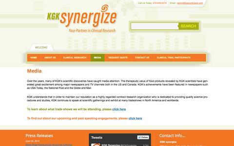 Screenshot of Press Page kgksynergize.com - Media | KGK Synergize - captured Oct. 6, 2014