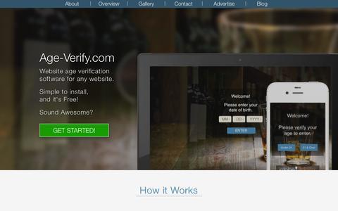 Screenshot of Home Page age-verify.com - Age Verify - Website Age Verification Software Application - captured Sept. 19, 2014