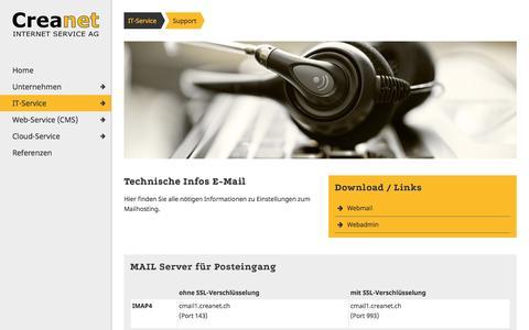 Screenshot of Support Page creanet.ch - Creanet Internet Service AG :: Support, CMS, Webdesign, Content Management System, IT-Service, Netzwerk, Sursee, Luzern - captured March 1, 2017
