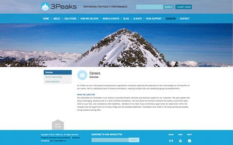Screenshot of Jobs Page 3peaks.com - 3Peaks - Overview - captured Oct. 27, 2014