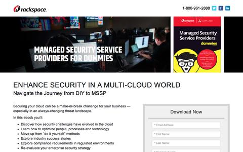 Screenshot of Landing Page rackspace.com - Download Our Ebook: Managed Security Service Providers For Dummies - captured Sept. 22, 2018